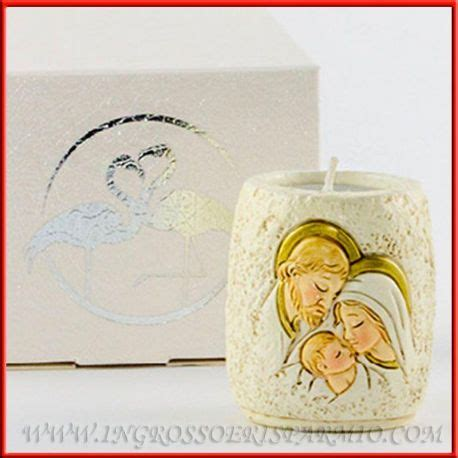 acquisto candele on line porta candele bomboniere sacra famiglia effetto pietra