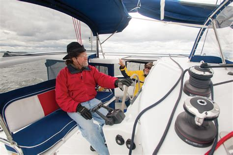sailing boat under power catamaran maneuvering under power