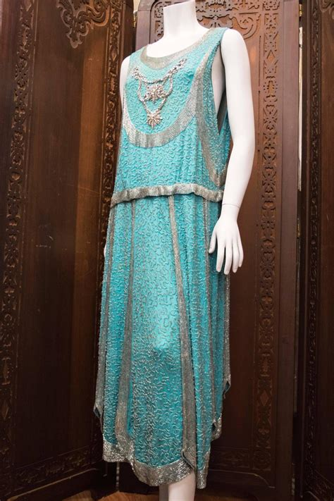 beaded 1920s dress 1920s beaded aqua flapper dress for sale at 1stdibs