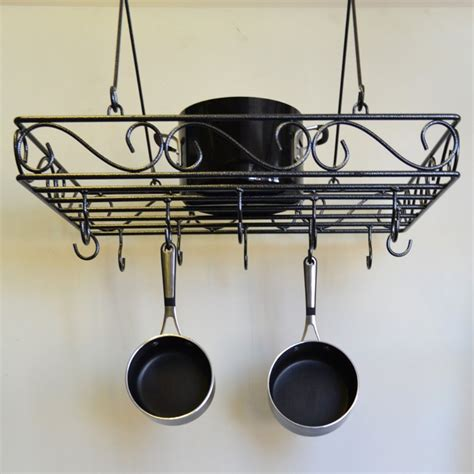 Wrought Iron Pot Racks by J J Wire Scrolled Wrought Iron Pot Rack Ebay