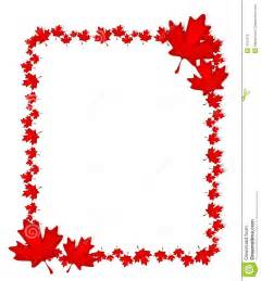 An illustration featuring a border of red canadian style maple leaves
