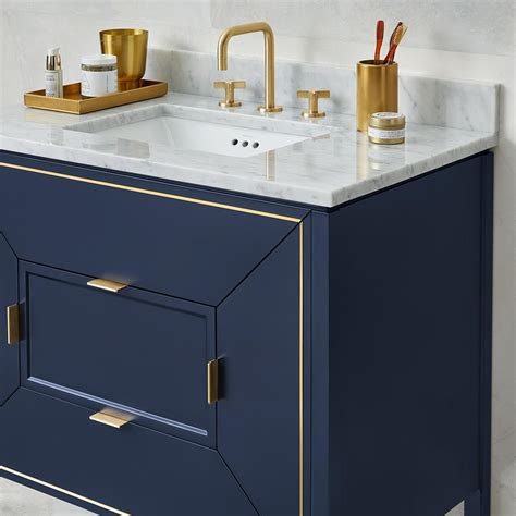 navy vanity 36 quot amora bathroom vanity set in navy with natural carrara