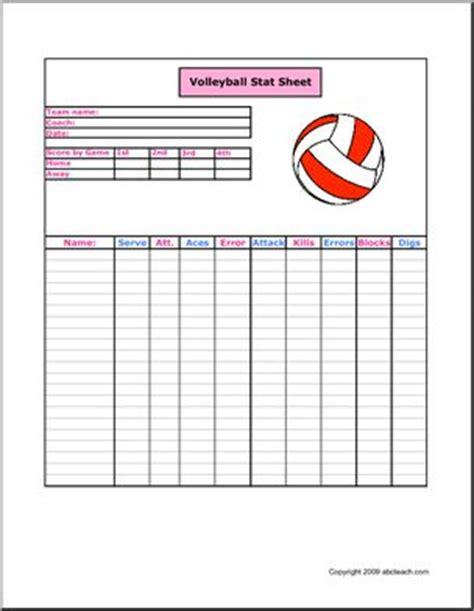 stat sheet volleyball abcteach