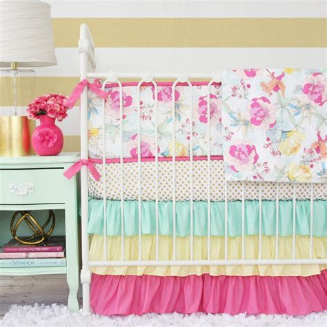 Pink And Yellow Crib Bedding New Ruffle Baby Bedding In Mint Pink And Yellow Caden