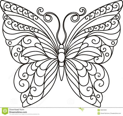 beautiful butterfly coloring pages stock photos butterfly outline image 58843683