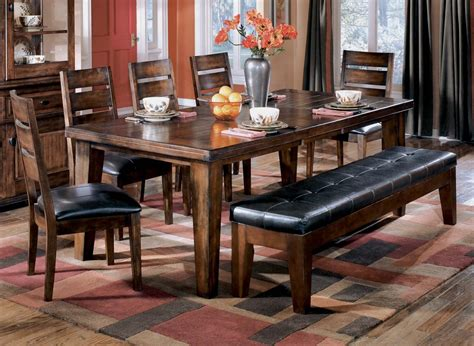 ashley furniture dining table with bench ashley d442 45 01 09 larchmont 6 piece rectangular dining
