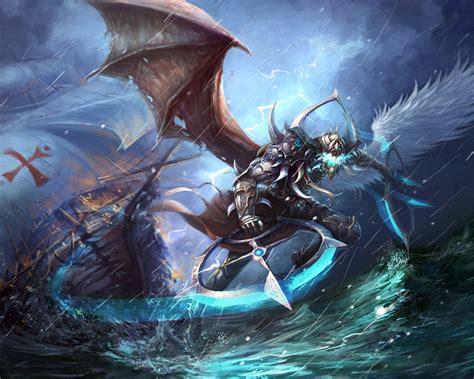 wallpaper naga biru zhu li fantasy battle creature ocean magic wallpaper