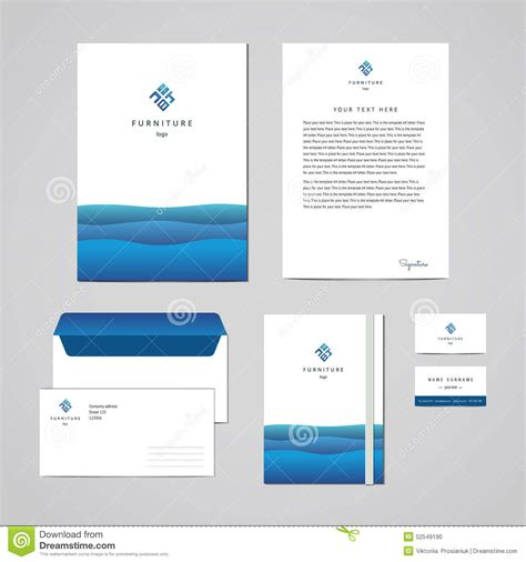 business folder template corporate identity furniture company blue design template