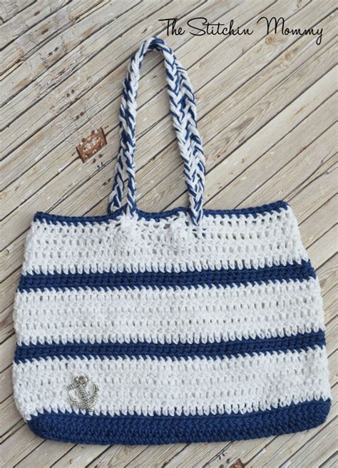 nautical tote bag pattern crochet nautical tote allfreecrochet com