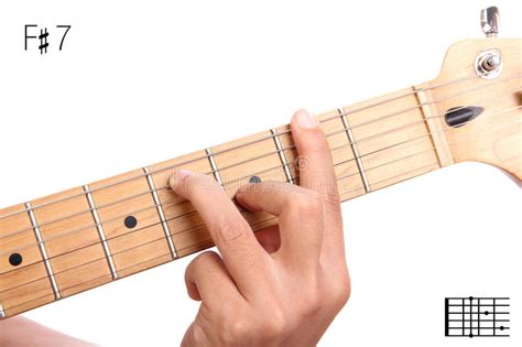 tutorial guitar up f sharp dominant seventh guitar chord tutorial stock photo