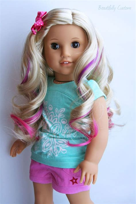 Hairstyle Books For Dolls by Custom American Doll With Pink Highlights Curly