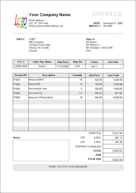standard invoice template free business template