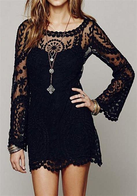 black plain crochet flower embroidery   long