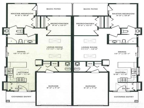 Duplex Plans Single Story by Duplex House Plans With Garage One Story Duplex House