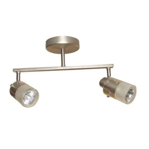 Home Depot Track Lighting Fixtures Hton Bay 2 Light Brushed Steel Ceiling Wall Bar Track Lighting Fixture Ec354ba The Home Depot