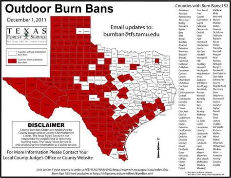 texas county burn ban map texas races