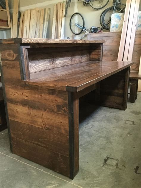 diy rustic office desk rustic industrial reception desk with two tiers frazer