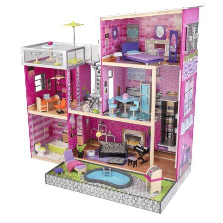 walmart doll houses kidkraft uptown wooden dollhouse with 35 pieces of furniture walmart com