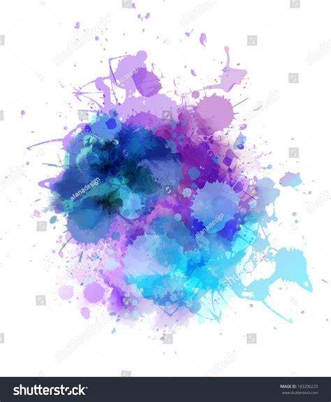 multicolored watercolor splash blot stock vector 183290225