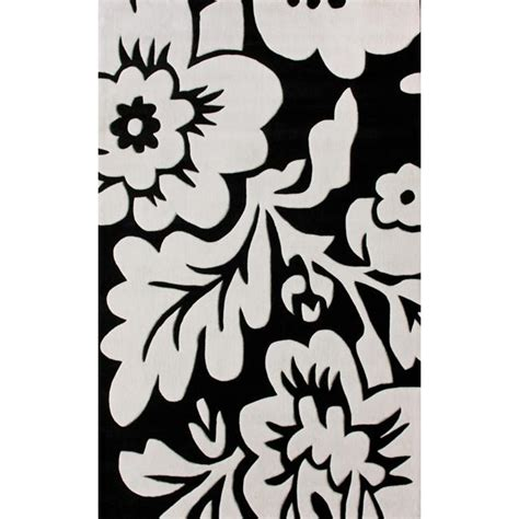 black and white rug overstock nuloom handmade pino collection black white floral rug 5 x 8 overstock shopping great