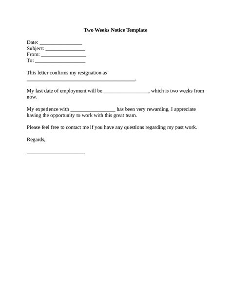 two week notice template exle of a two weeks notice letter edit fill sign