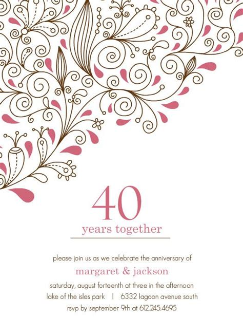 40th wedding anniversary invitation templates pink floral 40th anniversary invitation by