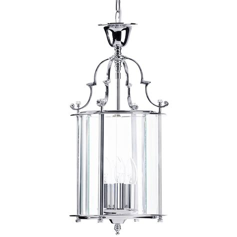 Lancashire Small 3 Light Ceiling Pendant Lantern Chrome Small Pendant Ceiling Lights
