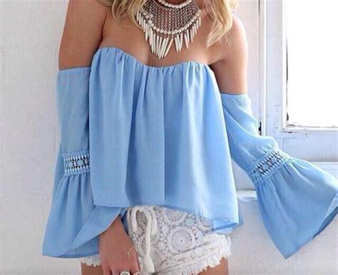 light blue off the shoulder top blouse light blue floaty off the shoulder top wheretoget