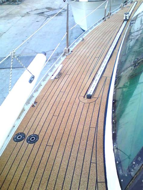 large sailboat with cork deck replacing teak seacork