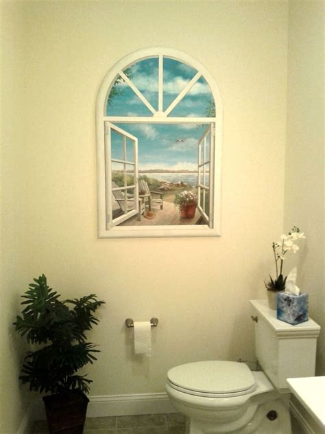 fake bathroom window custom bathroom faux window mural by artbyannette