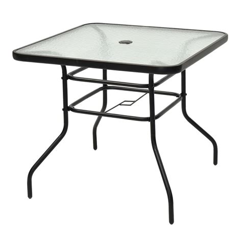 Tempered Glass Patio Table 31 1 2 Quot Patio Tempered Glass Steel Frame Square Table Outdoor Tables Outdoor Furniture