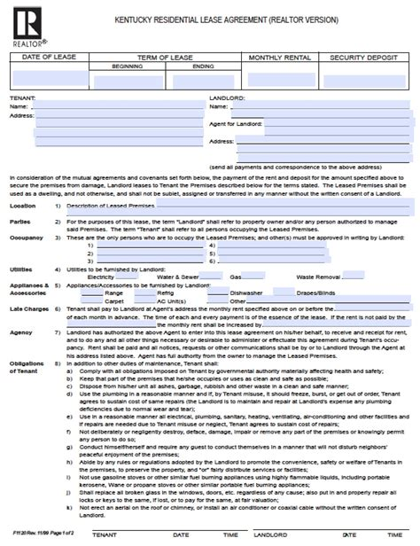 rental realtor free kentucky residential lease agreement pdf word doc