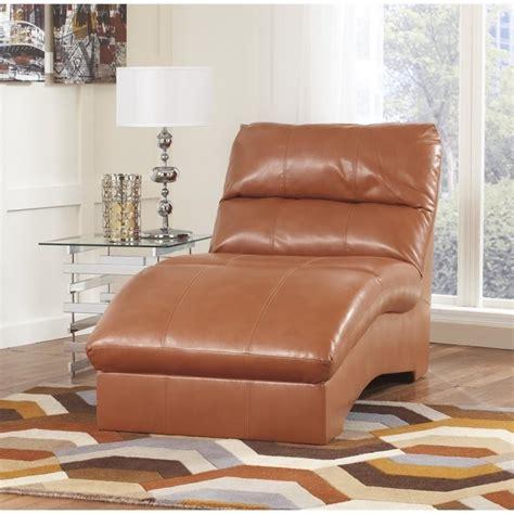 ashley paulie leather chaise lounge  orange