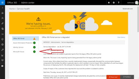Office 365 Intune Portal How Can I Check The Status Of My Intune Service