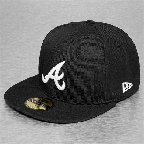 new cap era new era fitted cap mlb basic atlanta 59fifty in schwarz 34766