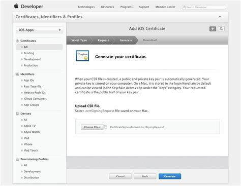apple developer account create an apple certificate identifiers and provisioning