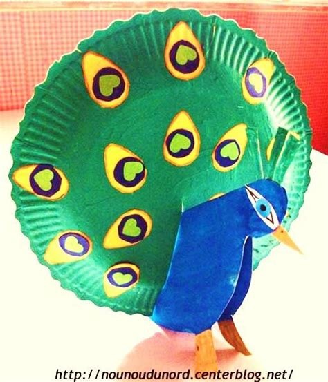 Peacock Paper Plate Craft - pastel kid and paper on