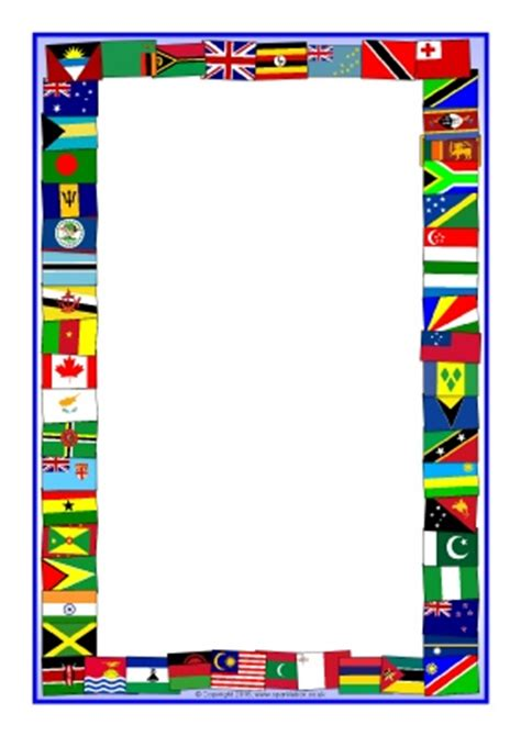 flags of the world page border commonwealth games primary teaching resources and