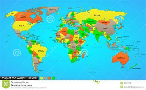 mapa politico del mundo ilustracion del vector