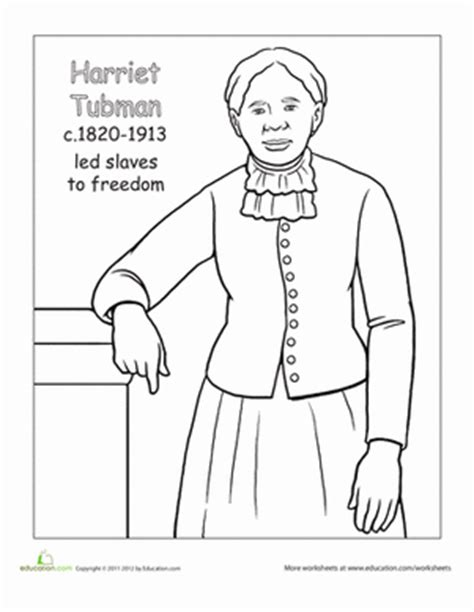 Color Harriet Tubman Worksheet Education Com Harriet Tubman Coloring Page