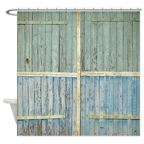 Wooden Shower Doors Rustic Wood Doors Shower Curtain By Rebeccakorpita