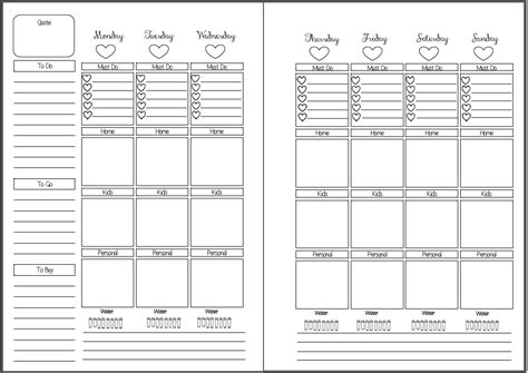 free printable personal planner inserts week on two pages vertical box style inserts wendaful