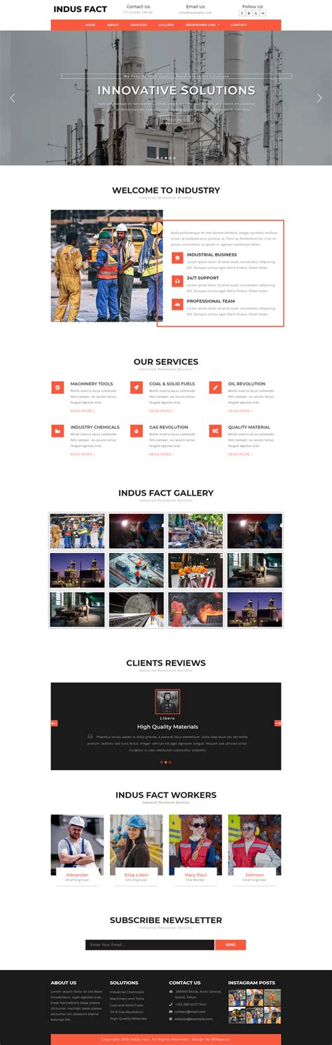 Indus Fact Industrial Category Bootstrap Responsive Web Template Industrial Responsive Website Templates Free