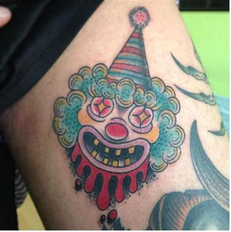 new school clown tattoo arm new school clown tattoo by mao and cathy