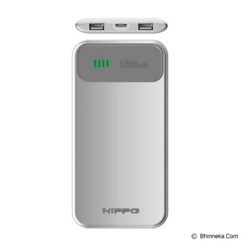 Hippo Powerbank Noha2 12000mah Simple Pack jual hippo power bank atlas simple pack 12000mah grey white murah bhinneka
