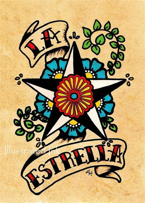 tattoo old school art old school tattoo star art la estrella loteria print 5 x 7