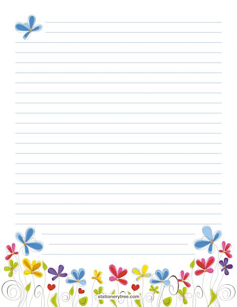 lined paper with plant border best photos of flower writing paper free printable lined