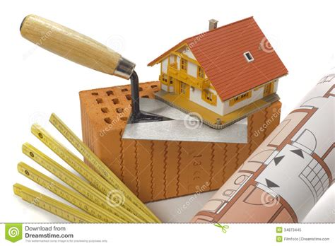 Tools for house building stock image. Image of plan