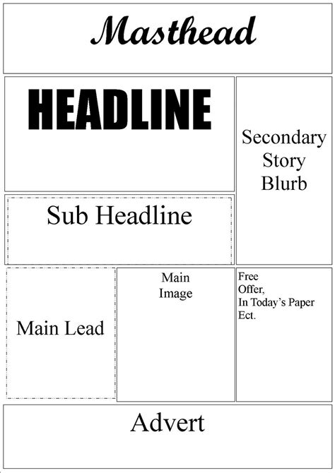 layout of newspaper front page best photos of front page newspaper layout template