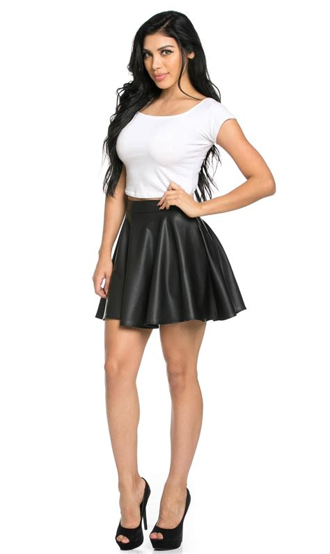 high waisted faux leather skater skirt in black plus